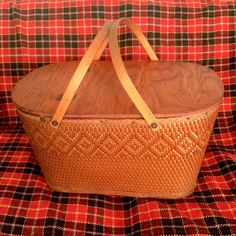 Vintage Red-Man Wicker Picnic Basket with Wooden Handles by EllasAtticVintage on Etsy
