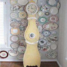 huge distressed yellow mora clock