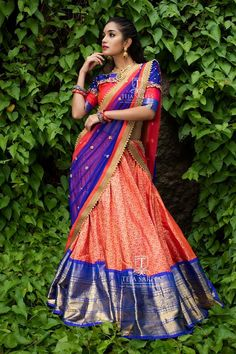 """Teja Sarees recently launched their beautiful wedding bridal lehenga collection """"Sampradaya"""". Hand embroidered blouse designs get your look right highlighting the back and neckline. Half Saree Lehenga, Lehenga Saree Design, Lehnga Dress, Lehenga Designs, Banarasi Lehenga, Ikkat Saree, Kerala Saree Blouse Designs, Saree Blouse Neck Designs, Half Saree Designs"""