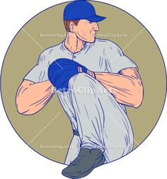 American Baseball Pitcher Throw Ball Circle Drawing Vector Stock Illustration.   Drawing sketch style illustration of an american baseball player pitcher outfilelder about to throw a ball viewed from the side set inside circle on isolated background. #illustration #AmericanBaseballPitcher