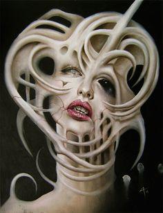 theblacknurse: horror art by david Magitis - Cave of Darkness Scream, Dibujos Tattoo, Dark Artwork, Bizarre Art, Dark And Twisted, Scary Art, Portraits, Funky Art, Horror Art
