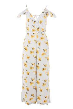 Frill Floral Wrap Jumpsuit