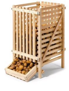 Root cellar potato bin available from manufactum. Woodworking Plans, Woodworking Projects, Potato Bin, Potato Storage, Vegetable Storage, Root Cellar, Sustainable Living, Food Storage, Storage Rack