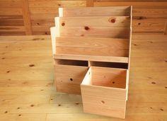 ひのきの絵本棚+収納ボックスセット