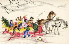 Nostalgic Christmas Sleigh Ride   Vintage sleigh ride in the snow, horse drawn sled and family fun.