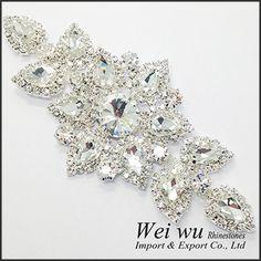 High Quality Sewing On Rhinestone Applique 1 pcs Silver Base Crystal Clear Color DIY Wedding Evening Dress | Price: US $6.64 | http://www.bestali.com/goto/32239223684/10