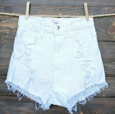 Festival distressed shorts White size 10 high waist festival distressed shorts hand distressed myself. Excellent condition Shorts Jean Shorts