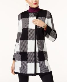Alfani Petite Plaid Sweater Jacket, Created for Macy's - Black P/XS