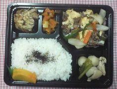 2012年9月6日(木)ランチメニュー:牛肉卵の中華風/豚ごぼう焼き/鶏と小芋と小松菜/カロテンきんぴら