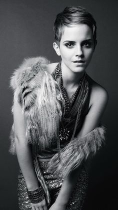 Emma Watson black and white