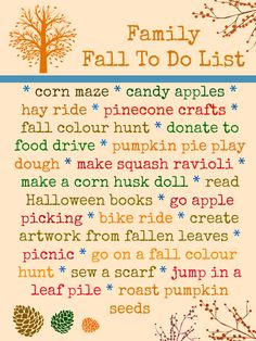 We've created an inspiring family fall to do list...get ready to play and craft your way through the fall season. Fall crafts, fall kid activities and fall recipe ideas. What will you do this fall?!
