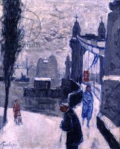 Hammersmith Bridge by Julian Trevelyan Chelsea School Of Art, The English Patient, Bridge Painting, Royal College Of Art, London Art, Source Of Inspiration, Winter Is Coming, Urban Landscape, Winter Time