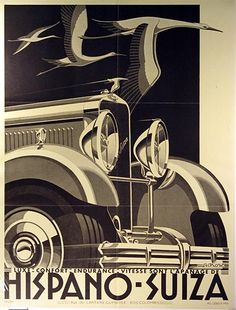 Date: 1929 Artist: Kow Make: Hispano Suiza Type: Advertising poster Size: x Vintage Advertisements, Vintage Ads, Vintage Posters, Retro Posters, Art Deco Illustration, Digital Illustration, Art Deco Car, Hispano Suiza, Poster Art
