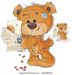 Vector illustration of a brown teddy bear holding in its paws open love letter with hearts. Print, template, design element