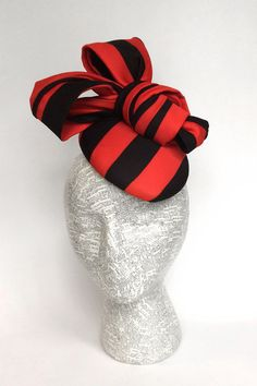 Black and red stripe fascinator by EstesMillineryHats on Etsy