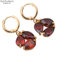 gold plated earrings Garnet Zirconia Drop Earrings  gold plated Crystal Party fashion Jewelry JE354