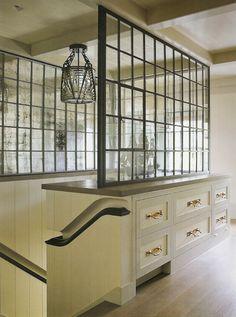 Railings and glass wall.