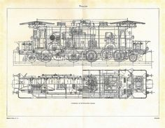 Locomotive Vintage Technical Drawing by Carambas