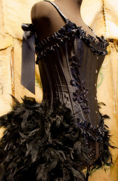 TWILIGHT- Burlesque Costume Corset Black Swan Steampunk party dress. $170.00, via Etsy.