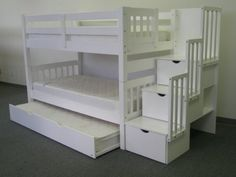 White twin bunkbeds with trundle and stairs for the girls' room :)