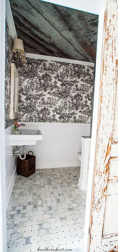 Small bath with BIG style!  Heathered Nest toile & barnboard bath!