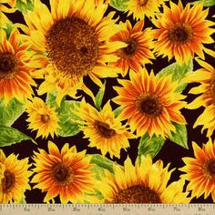 Harvest Botanical Sunflowers Cotton Fabric - Brown by Beverlys.com