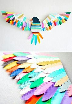 Sculpture oiseau papier / Paper bird sculpture Lyons Lyons Lyons Gabbert lets get together and make this! its so pretty! Kids Crafts, Diy And Crafts, Arts And Crafts, Wood Crafts, Paper Birds, Paper Flowers, Bird Paper Craft, Diy Paper, Paper Crafting