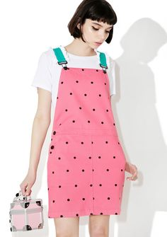 Lazy Oaf Watermelon Dungaree Dress yer just the sweetest lil snack, bb. Look cute af in this adorable lil dress that features a pink denim construction with black dots all over, slim but comfy fit, pockets on each side, and green straps with white ruffle trim and overall strap closures.