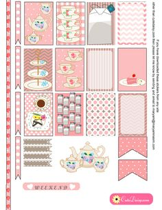 English Tea themed Stickers for Happy Planner and ECLP {Free Printable} Tea Stickers in Pink Color