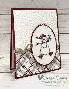 Spirited Snowmen Winter Card - Stampin' With Georgia - Stampin up - christmas Christmas Cards 2018, Stamped Christmas Cards, Simple Christmas Cards, Homemade Christmas Cards, Xmas Cards, Homemade Cards, Stampinup Christmas Cards, Handmade Christmas, Prim Christmas