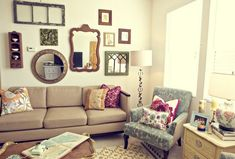 Old wooden photo frames for vintage living room ideas on a budget