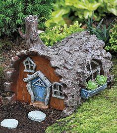Fairy garden log cottage