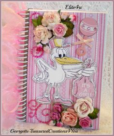 ELITE4U Georgette Shabby BabyGirl  Handmade Premade PaperPiecing  Journal Album #DCWV