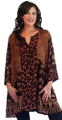 Lotustraders Jacket Blouse Shirt Tunic Gauzy Bali Batik Brown Black One Size l115 -- Check this awesome product by going to the link at the image.