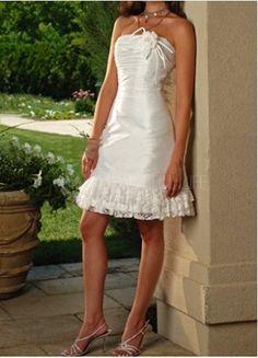 $146.99  Sweet Taffeta Strapless Mini Wedding Dress With Flower And Lace Trim #sweet #mini #wedding dress