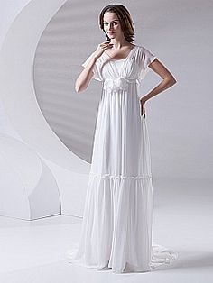 Empire Chiffon Wedding Dress with Butterfly Sleeves with Flower Detail - USD $96.80