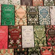 Pukka tea boxes. Pukka Tea, Summit 2017, Tea Logo, Free Gf, Indian Colours, Tea Design, Vegan V, Ginger And Honey, Tea Packaging