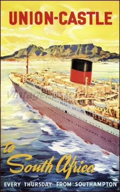 Take a look at the 'Union Castle Line Poster; South Africa - Union Castle Line Poster advertising to' prints from Media Storehouse Charles Trenet, Jr Art, Merchant Marine, Vintage Boats, Boat Art, Pin Up, Ship Art, Vintage Travel Posters, Africa Travel