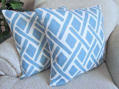 Kravet Blue Designer Pillow Covers, Cushion Covers, Decorator Pillows, Trellis, Geometric Pillows, Blue Home Decor - Set of Two - 18 x 18 on Etsy, $64.95