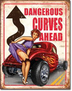 "Legends Dangerous Curves Vintage Sign Reproduction provides just the right accent for your home, business or any decorating project. Measures- 16""""H X 12-1/2""""W Has holes in corners for easy hanging!"