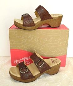 aa75563f4cc Dansko Sophie 2 Strap Comfort Sandal 11.5-12 42 Brown Tooled Leather Cute  Party