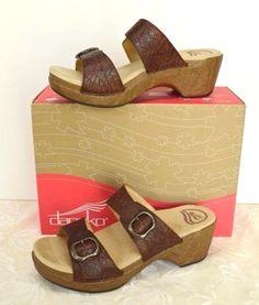 Dansko Sophie 2 Strap Comfort Sandal 11.5-12/42 Brown Tooled Leather Cute Party #Dansko #Slides #DressyCasual
