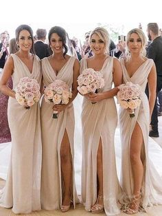 Buy A Line Chiffon V Neck Beige Ruffles Bridesmaid Dresses Long with Slit, Prom Dresses in uk.Rock one of the season's hottest looks in a burgundy homecoming dress or choose a timeless classic little black dress. Ruffles Bridesmaid Dresses, Champagne Bridesmaid Dresses, Bridesmaid Dresses Online, Wedding Bridesmaids, Wedding Gowns, Prom Dresses, Bridesmaid Bouquets, Champagne And Blue Wedding, Destination Bridesmaid Dresses