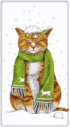 Style the cat lovers kitchen for Christmas. Discover our collection of dish towels for every season, decor style and holiday. Mary Lake Thompson design.