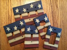 Primitive American Flag Switch Plate Covers by HandPaintedByMara