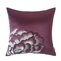 Peony embroidered pillow Chinoiserie elegant purple sofa cushions