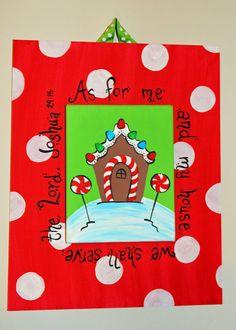 Gingerbread House Scripture Canvas Original by CamaleeKateStudio