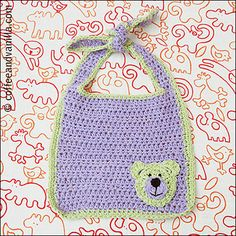 free crochet pattern for baby bib-  not crazy about the tie around neck, too uncomfortable for bottle feeding but love the teddy head motif!