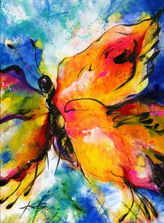 Acrylic Painting - Yellow Butterfly Painting Large Abstract by KathyMortonStanion