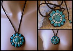 Handcrafted Turquoise Artisan Flower Boho Necklace Woven Wax String